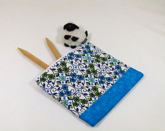 Knitting Project Bag - Petite Notions Bag in Blue and Green Flower Quilting Fabric with Blue Cotton Lining