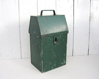 Vintage Metal Box Lid Handle Latch Green Patina Tall Narrow Paint Brush Dryer Container Industrial Rustic Farmhouse Wedding Card Box