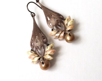 Floral lotus earrings with freshwater pearls, brass filigrees and hypoallergenic niobium earwires in brass brown golden yellow ivory