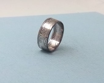 Made from Silver Proof coin Alabama State ring size 7 1/2,  90% fine silver jewelry unique Statehood gift FREE SHIPPING
