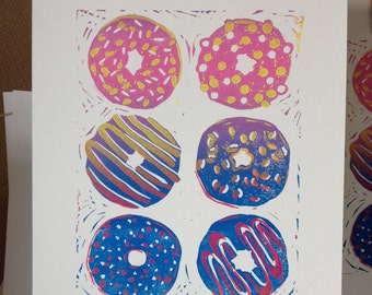 Hand Printed Limited Edition- 2 Colour Gradient Donut Lino Print - A4
