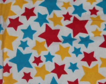 FLANNEL Red, Yellow, and Blue Star Crib/Toddler Bed Fitted Sheet