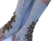 Long Felted Fingerless gloves Fingerless Mittens Arm warmers Gloves Oatmeal Floral