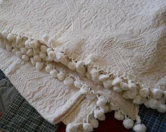 FURTHER REDUCTION--Vintage White on Beige Matelasse Bedspread with Pom Pom fringe--JC Penneys-Full Size-Heavy