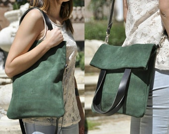 SUMMER leather bag - MERY model in green leather