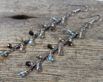 Brown and Blue Dangle Chain Earrings / Long Earrings / Blue Earrings / Gifts for Her / Gifts for Women / Unique Gifts / Chain Earrings