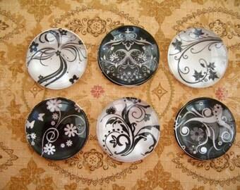 Black White Round Glass Magnet, Black White Flower Fridge Magnet, Flowers Round Magnet Style 3