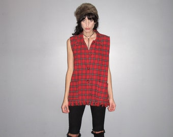 Flannel Vest - 90s Over-sized Red Tartan Plaid Checkered VTG - Womens M/L