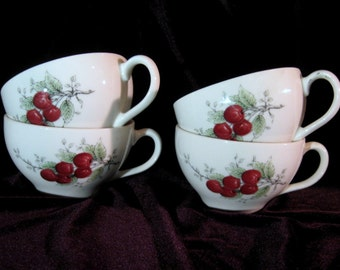 Syracuse Carefree True china, Wayside, 4 cups with red cherries, light green leaves