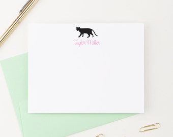 Cat Stationery, Cat Silhouette, Personalized Stationery, Stationery Set, Custom Stationery, Stationary Personalized, Stationary Cards, KS060