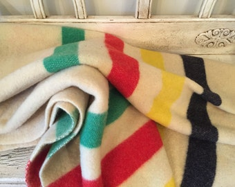 Vintage Husdon Bay Style Striped Wool Blanket - Mariposa Wool Blanket - Rustic Cabin Decor