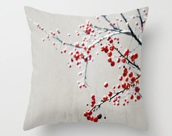 Pillow Cover, Red Gray Decorative Pillow, Red Berry Branch Throw Pillow, Grey Red Pillow, Nature Photography Pillow, Tree Pillow