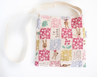 Child's Shoulder Bag - Patchwork Rabbit (Pink)