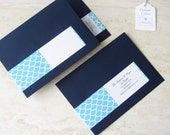 Wrap Around Address Label - Beach Scallop Wave - Return Address Label - Christmas Card - Holiday - Choose Your Color