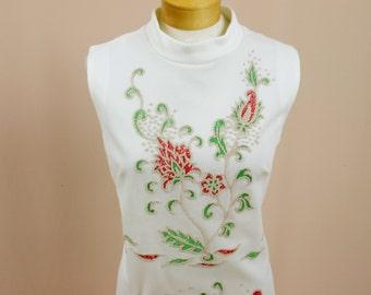 70s Maxi Dress * Cream Maxi Dress * Floral Dress * 1970s Dress * Mod Dress * Hostess Dress * Evening Gown * Beaded Dress
