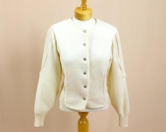 80s Cream Boiled Wool Cardigan * Cream Cardigan * Boiled Wool Sweater * Deans of Scotland * Cream Wool Jacket * Austrian Wool