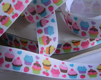 "Cupcakes Grosgrain Ribbon 5 yards of 7/8"" Pastel Colored Cupcakes & Hearts Print Ribbon for Sewing Hair Bows Birthday Party Favor Ties"