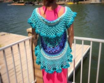 Hand-Crocheted Shorter Length Boho Style Vest in Sardegna