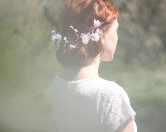 Bridal Flower Crown, Bridal Flower Hairpiece, Flower Hair Wreath, Bridal Lace Headpiece, Bridal Headband, Floral Headpiece, Flower Headband