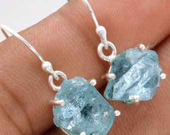 """Pair of Aquamarine Earrings. Solid Sterling Silver. 1"""" LONG. All natural."""