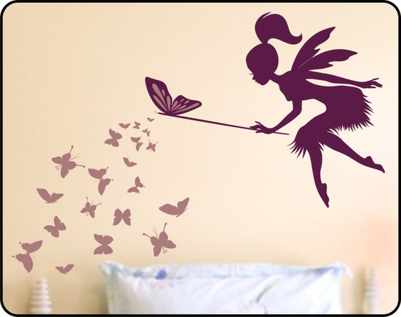 Butterfly Fairy with butterfly Wand Vinyl Wall Decal - Nursery wall decor Fairy wall decal
