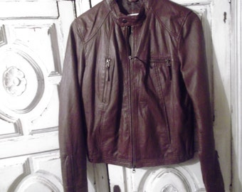 VINTAGE LEATHER Jacket, biker style,chocolate brown , French size 40, UK size 12, s-m