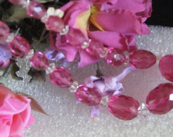 Gorgeous Pink Faceted Glass Beaded Necklace 14k GF Clasp