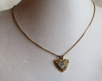 "18"" Vintage Aquamarine Heart Necklace on Gold Chain, vintage, aquamarine, heart, necklace, gold chain"