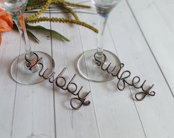 Wire Wine Charms - Rustic Wine Charms - Personalized Wine Charms - Name Wine Charm - Custom Wine Charm - Champagne Charm - Hubby Wifey