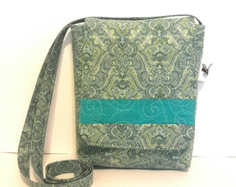 Quilted Cotton Cross Body Bag in Green and Turqouise Print Quilted Handbag