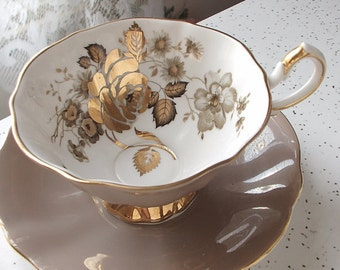 Vintage Queen Anne Gold roses teacup and saucer, Wide rim tea cup, Mocha brown tea cup, English tea cup. Mid Century bone china teacup