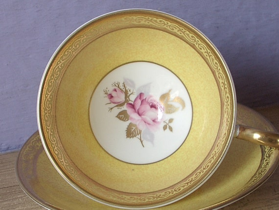 Traditional 20th Wedding Anniversary Gifts: Vintage Bone China Teacup And Saucer Aynsley Pink By