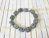 "Czech Glass Face Beads, Hematite Finish, Focal beads, 6"" Strand, Pressed glass, Destash, Metallic Black, Moon Face"