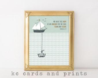 Scripture Printables - Bible Verse Art - Hebrews 6:10 - Nautical Wall Art - Digital Download - Scripture Art Print - Bible Verse Printable