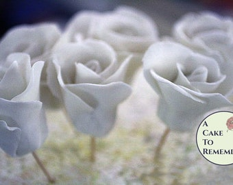 White gumpaste rose, edible flowers,  sugar rose for cake decorating, cake decorating supplies, sugar flowers.