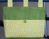 Lime Green Paisley Adult Woman Walker Bag Tote w/Yellow & White Dot Pockets, Lime Green and Yellow Button