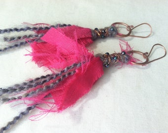 Pink fabric art earrings