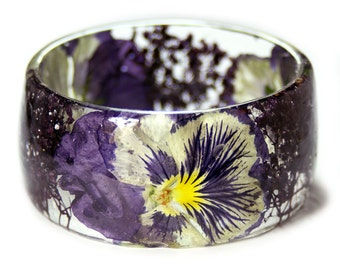 Pansy Flower Bracelet -Jewelry with Real Flowers- Dried Flowers- Yellow Pansy Bracelet - Pressed Flowers- Flower Jewelry - Resin Jewelry