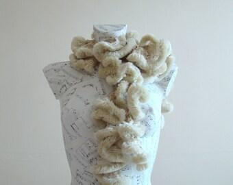 Fun fur scarf faux fur scarf hand knit scarf crochet ruffle scarf winter scarf fur neck scarf winter scarf for women ruffle scarf cream