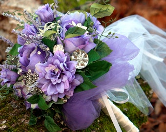 Brooch Bouquet Rustic Woodland jeweled purple bling rhinestone bridal bouquet, Deposit only