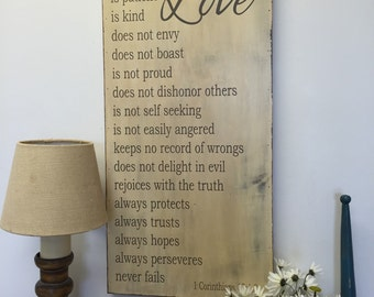 Love is patient, love is kind - 1 Corinthians 13 - rustic wedding sign