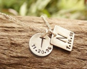 Initial Necklace Hand Stamped Sterling Silver Square Monogram Necklace with Birthdate
