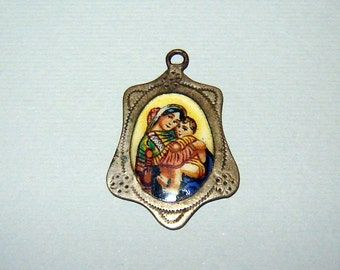 ANTIQUE Old Vintage porcelain enamel Pendant Charm Virgin Mary Madonna