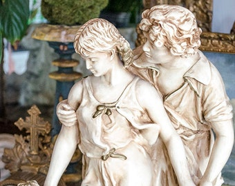 Vintage French Statue, Large Size, Mid Century, Chalkware, Alexander Backer Co