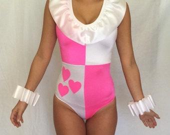 Harley Quinn Costume Cosplay Pink Hearts Custom Made