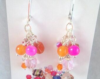 Colorful bauble earrings, pink and orange earrings, cascading earrings