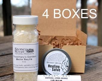 4 Boxes-  Bath and Beauty Gift Sets  -  - 1 oz healing salve, bath salt ,  lip balm