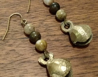 Brass Bell Earrings with Agates (E1034)