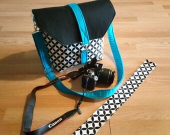 NEW-Super sale-15% off-Beautiful pattern camera bag-unique design and stylish -adjustable/removable shoulder strap-BLUE SKY