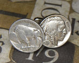 Steampunk Cufflinks Cuff Links - TORCH SOLDERED - 1937 Indian Head Buffalo Nickel - Birthday Anniversary Gift - Vintage Pair